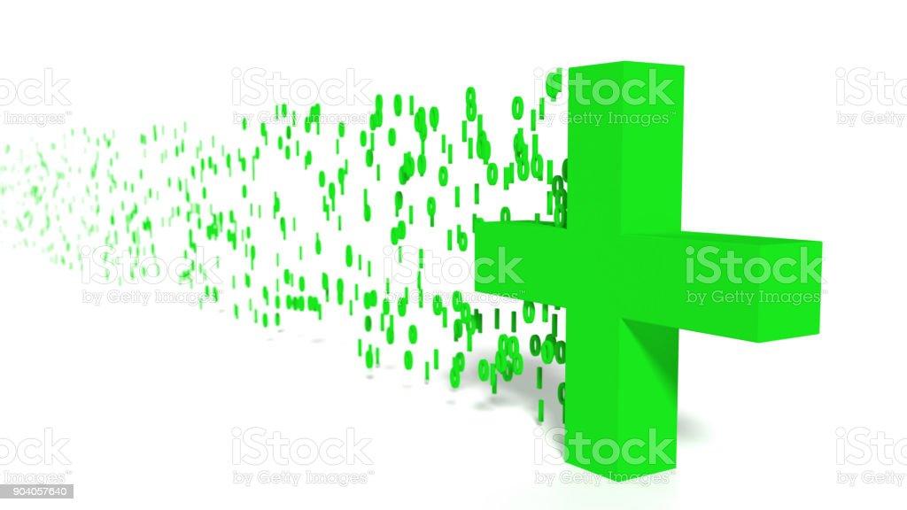 Digital healthcare concept green cross emitting binary streams stock photo