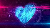istock Digital heart symbol 1128015308