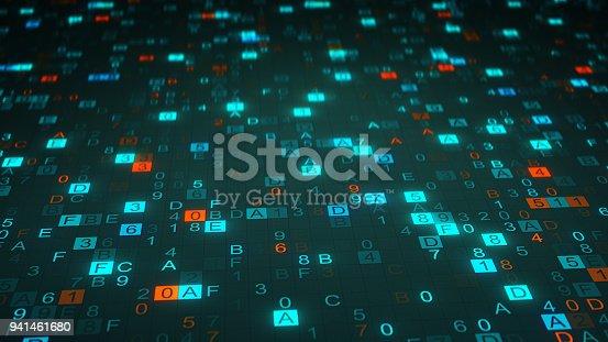 848353892 istock photo Digital hex code symbols on monitor 941461680