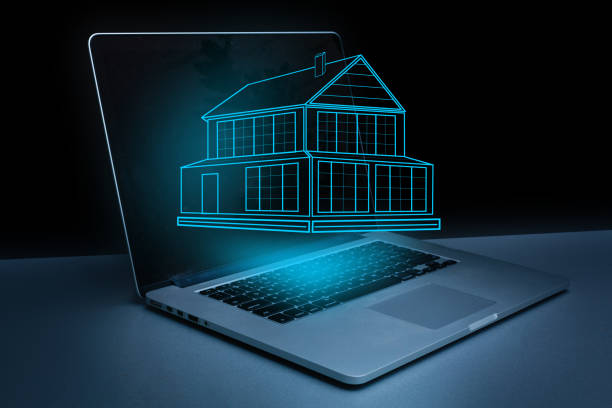 digital home project on laptop monitor stock photo