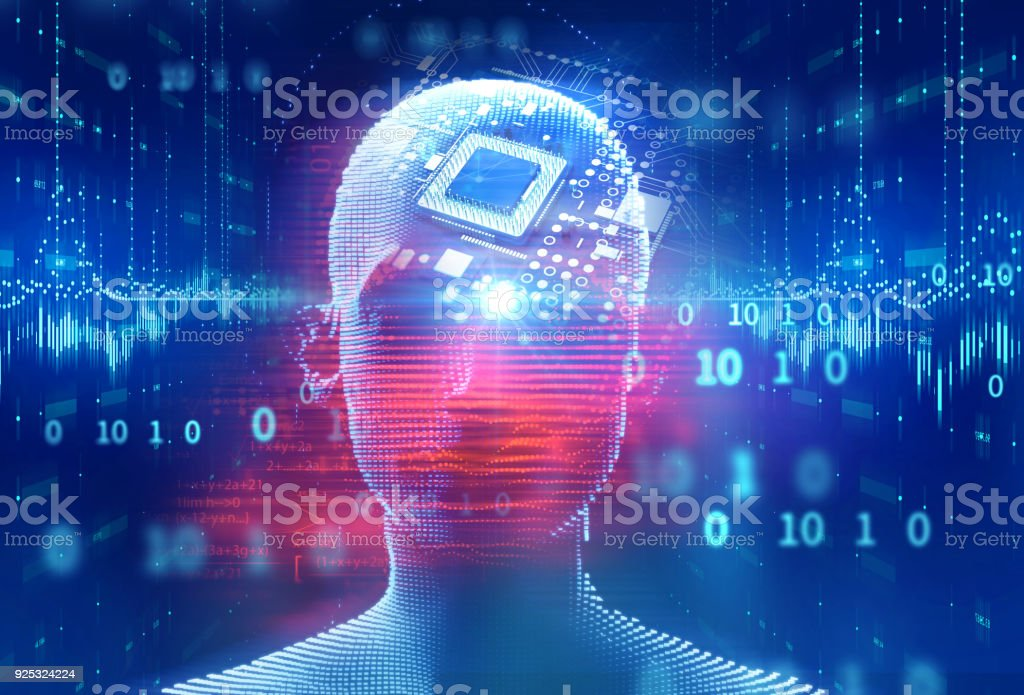 digital human and computer cpu  3d illustration digital human and computer cpu  3d illustration. concept of artificial intelligence and machine learning Abstract Stock Photo