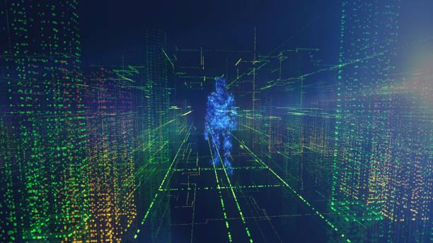 Digital human walking on Internet cloud stock photo