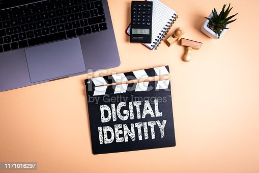 Digital Identity. Movie clapper on the table