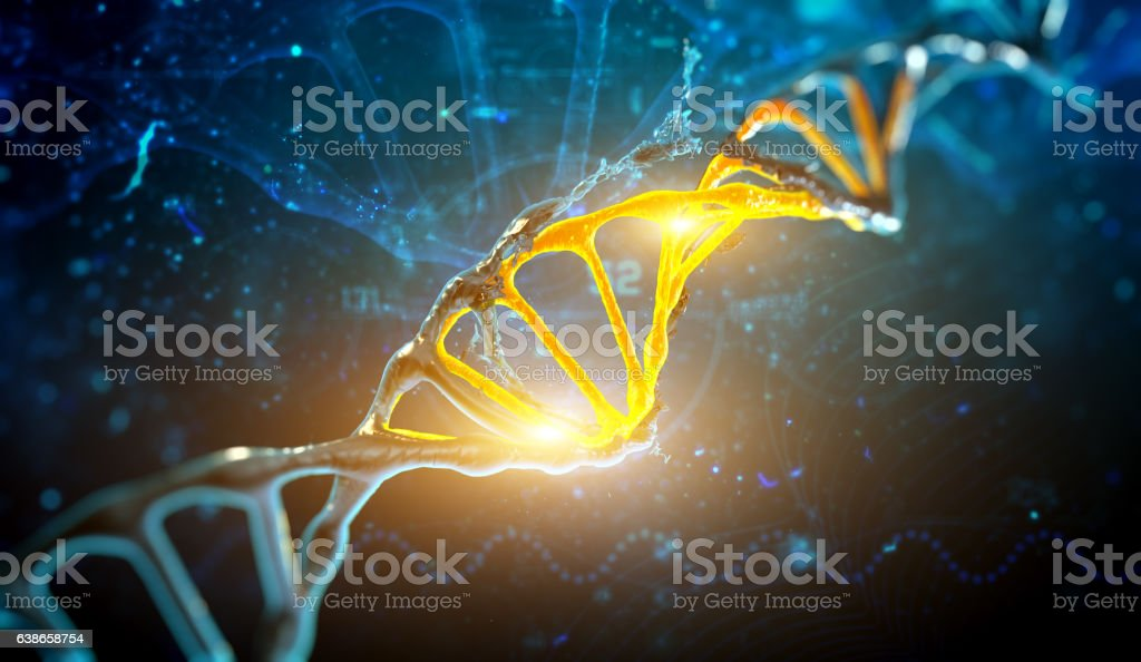 Digital illustration DNA structure in blue background stock photo