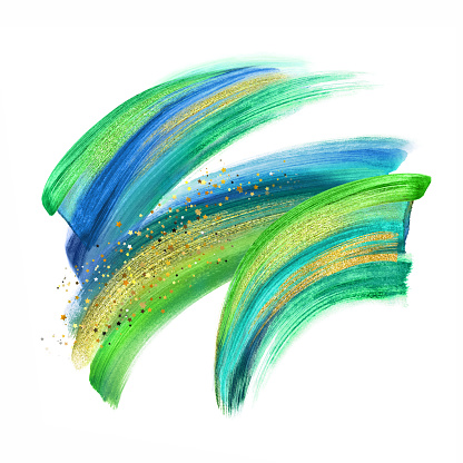 digital illustration, green blue gold paint, neon brush stroke isolated on white background, paint smear, colorful clip art, artistic design element