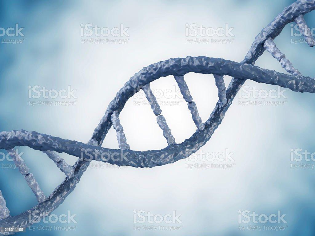 Digital illustration of a DNA on blue background stock photo