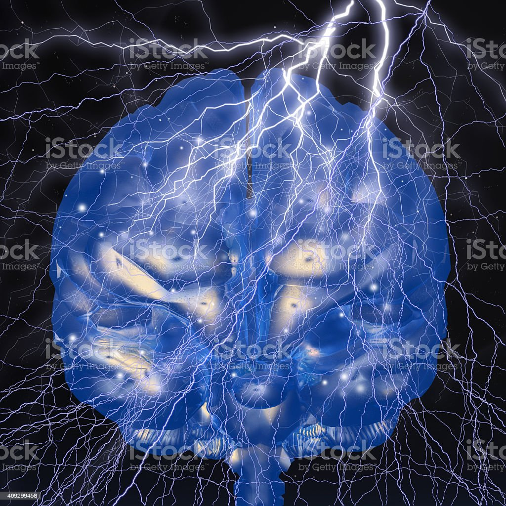 Digital Illustration of a Flash of Genius stock photo