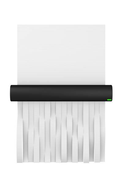 digital illustration of a paper shredder shredding paper - shredded paper stock photos and pictures
