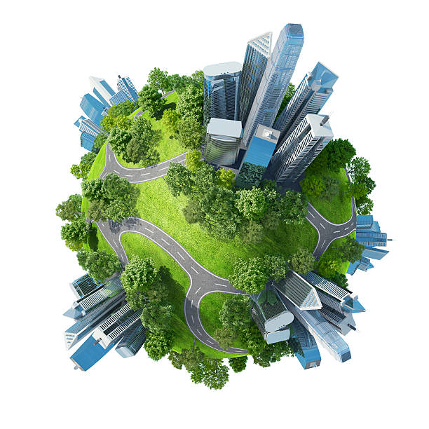 Digital illustration of a planet with cities and nature stock photo