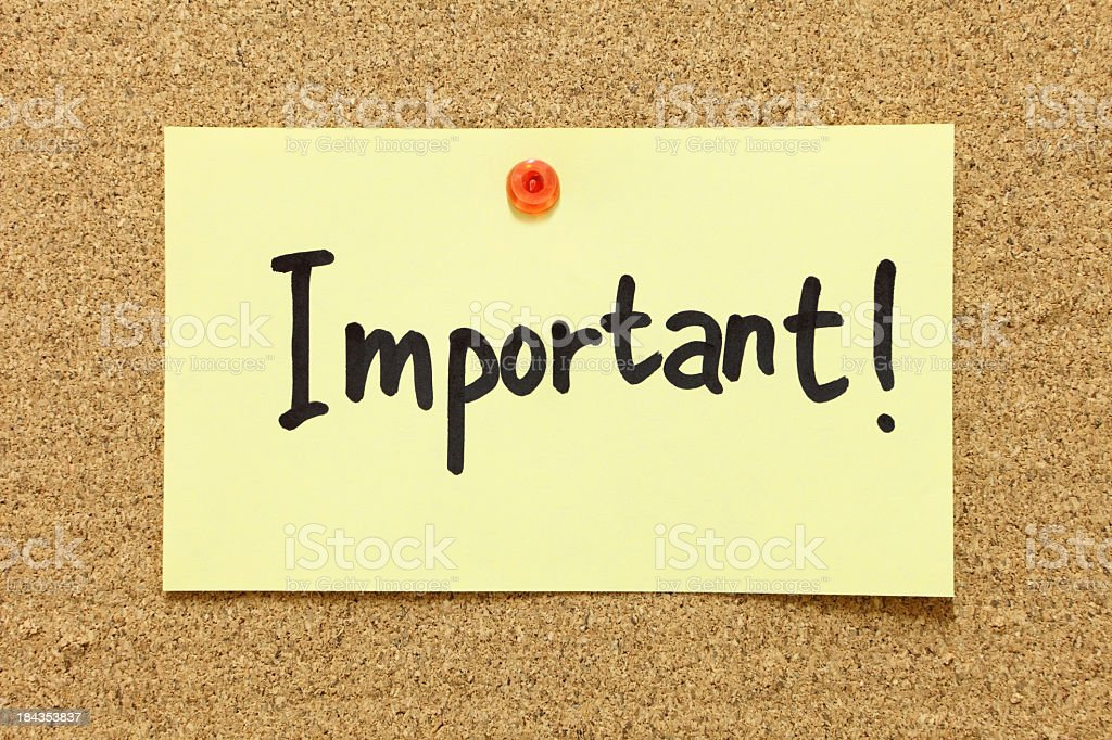 Digital illustration of a post it with the word important royalty-free stock photo