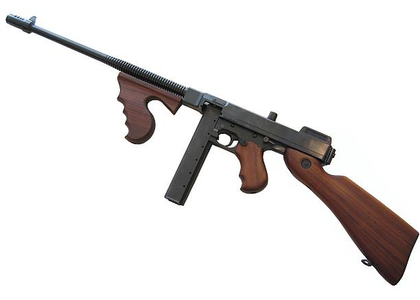 A digital illustration of a Thompson submachinegun stock photo