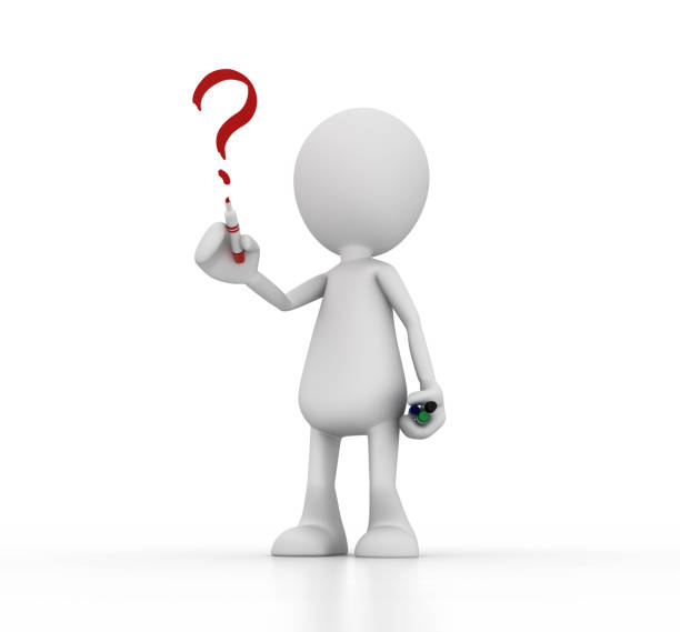 digital illustration of a white doll drawing a question mark - stick figure stock photos and pictures