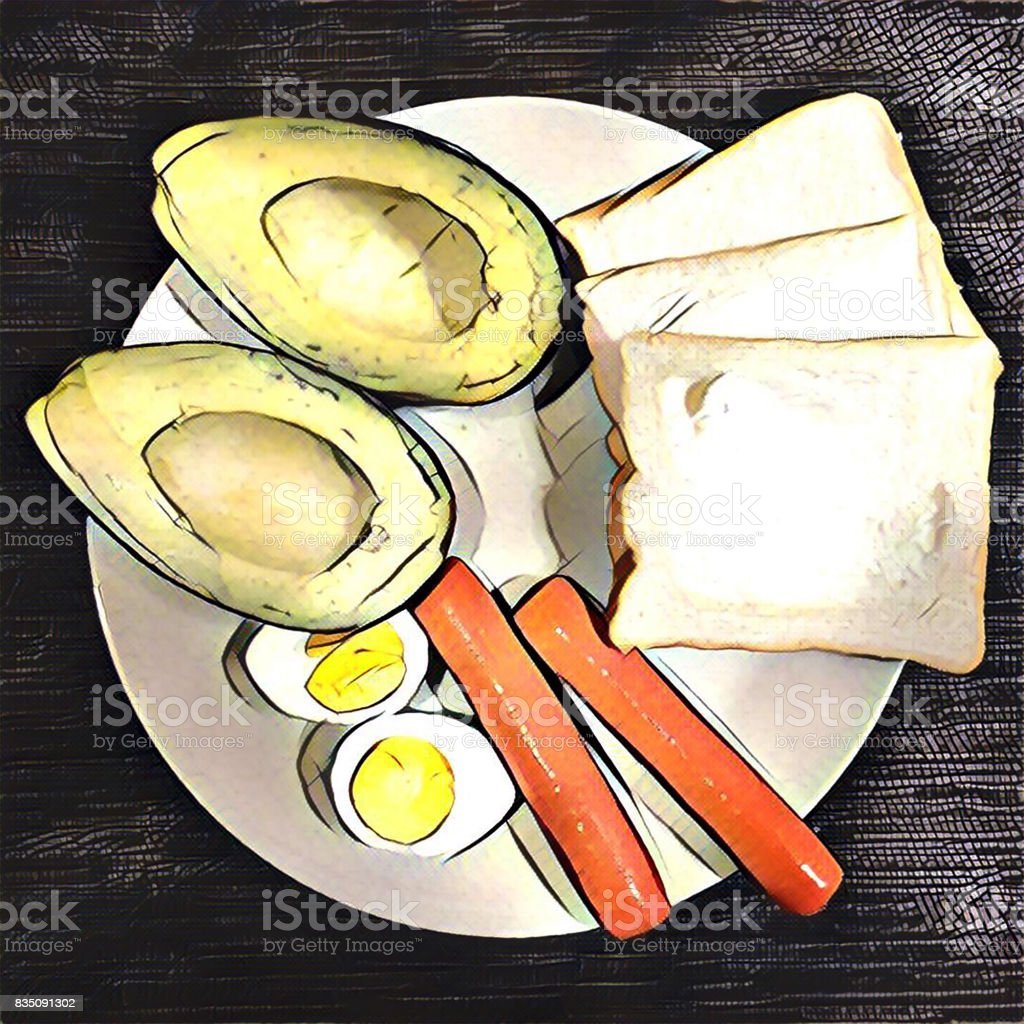 Digital Illustration Of Breakfast On Plate With Eggs Sausages Bread And Avocado Stock Photo Download Image Now Istock