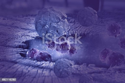 istock Digital illustration of  cancer cells in human body 692116280