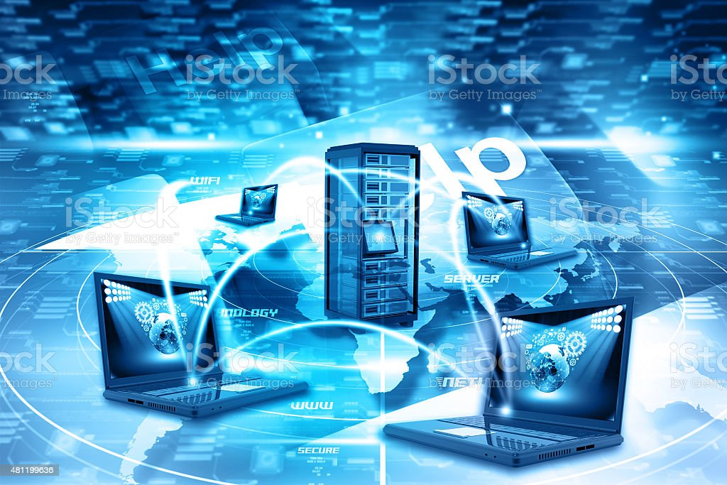 Digital illustration of Computer network stock photo
