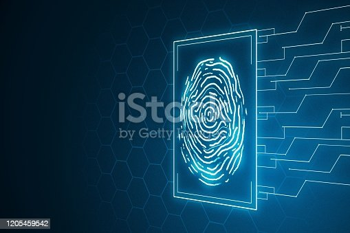 istock Digital illustration of fingerprint symbol on blue background. Future technology concept. 3D Rendering 1205459542