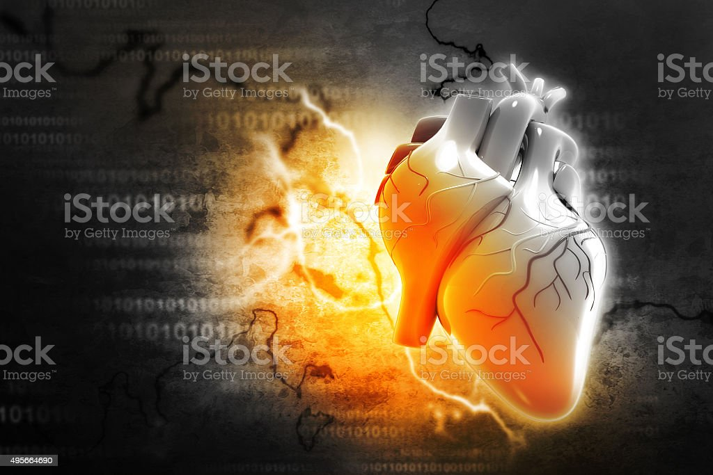 Digital illustration of Human heart stock photo