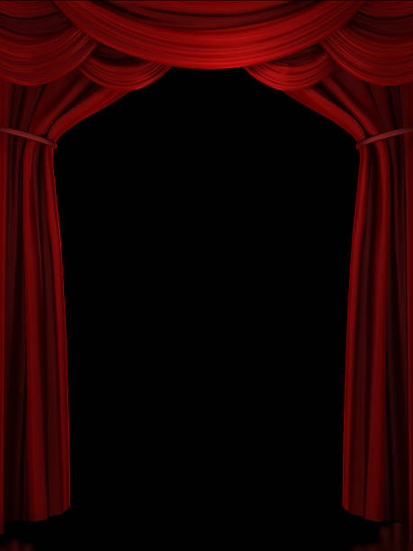 Digital illustration of red ornate stage curtain stock photo