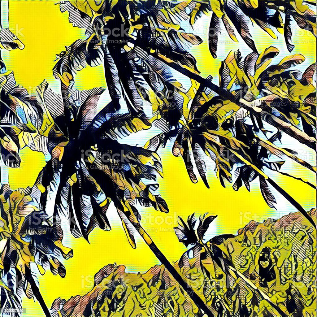 digital illustration palm trees on yellow background marker drawing