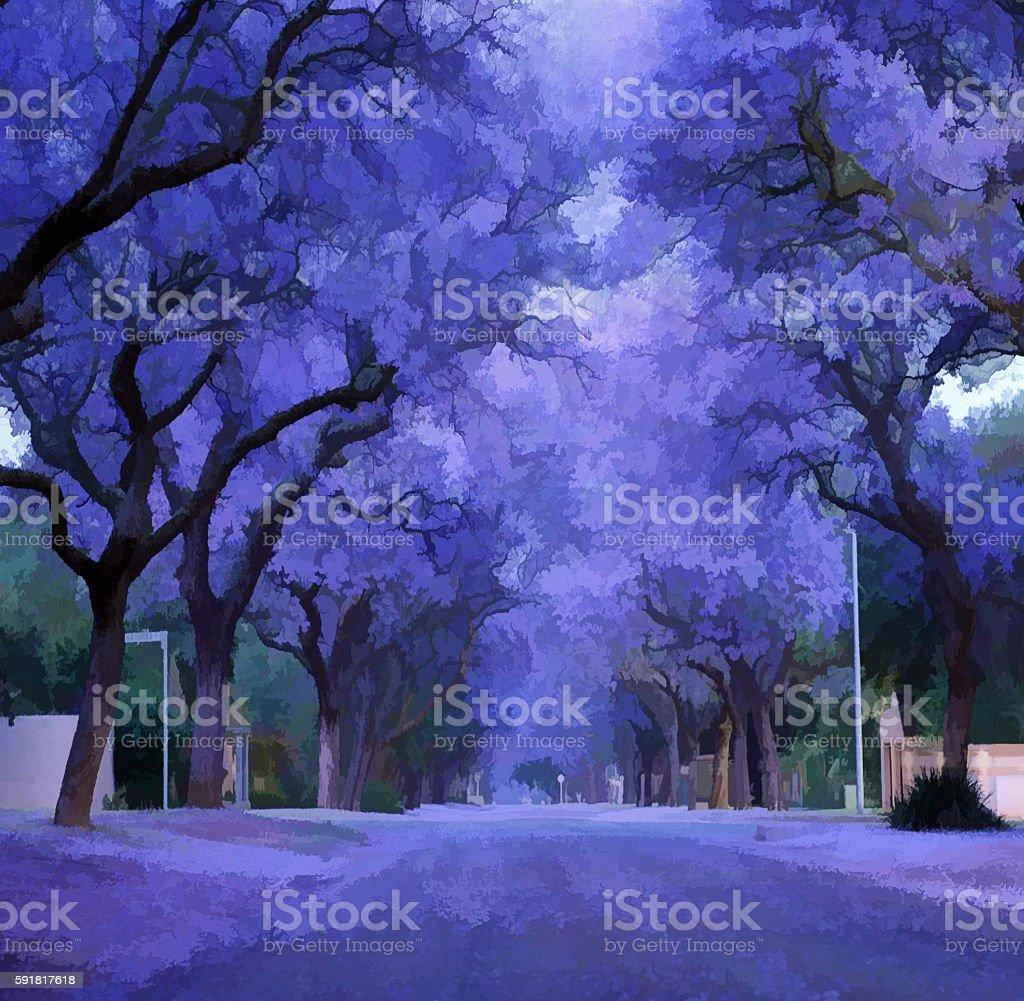 Digital illustration - Purple flowers, jacaranda bloomed stock photo