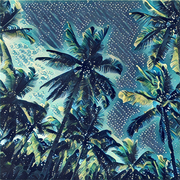 Digital illustration - The palm trees on blue background, graffiti style drawing of tropical summer stock photo