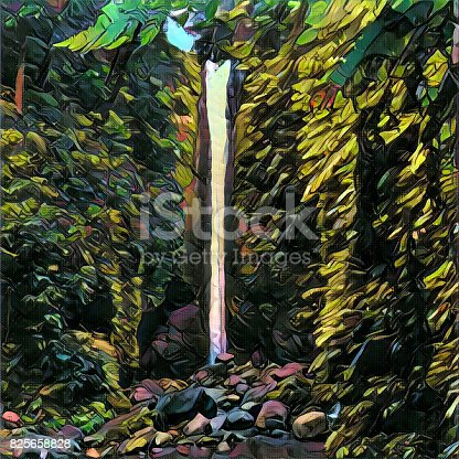 istock Digital illustration - The waterfall, autumn colors. Tall waterfall in autumn forest. 825658828