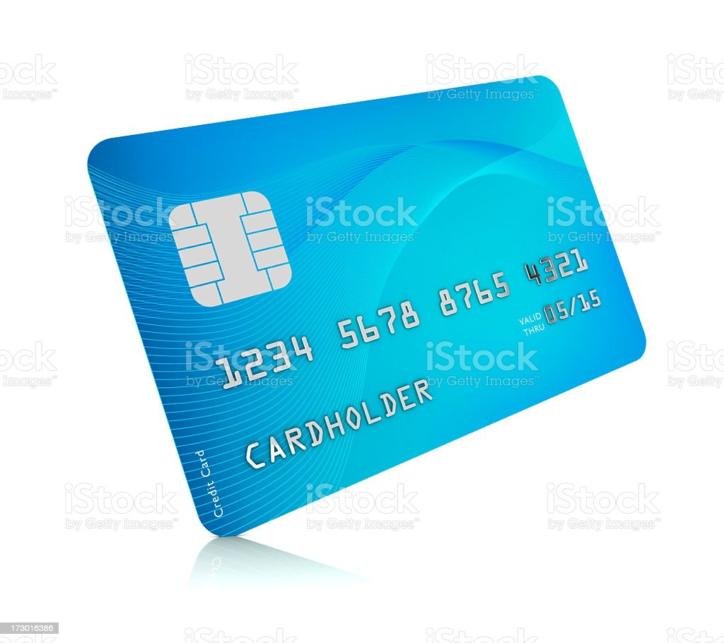 Digital image of a blue credit card on a white background stock photo