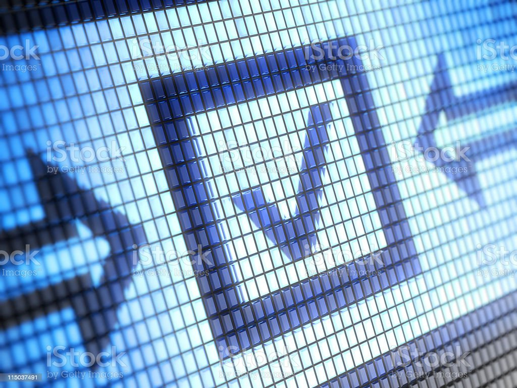 Digital image of a box with check mark inside it stock photo