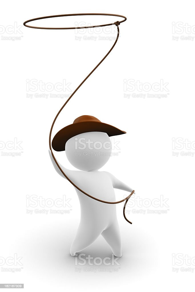 A digital image of a cowboy twirling his lasso  stock photo