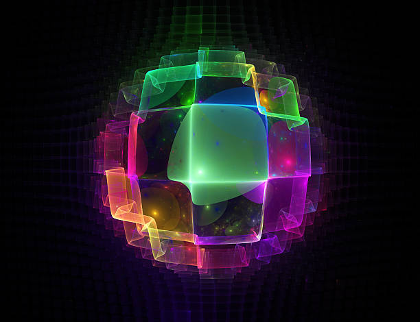 Digital image of a glowing multicolored neon sphere stock photo