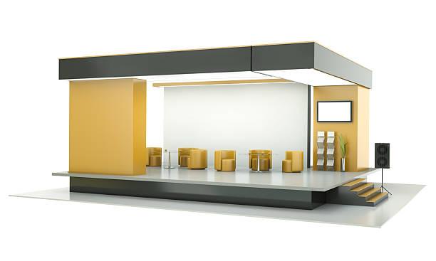 soporte para ferias, exposiciones y cabinas sobre un fondo blanco - stand fotografías e imágenes de stock