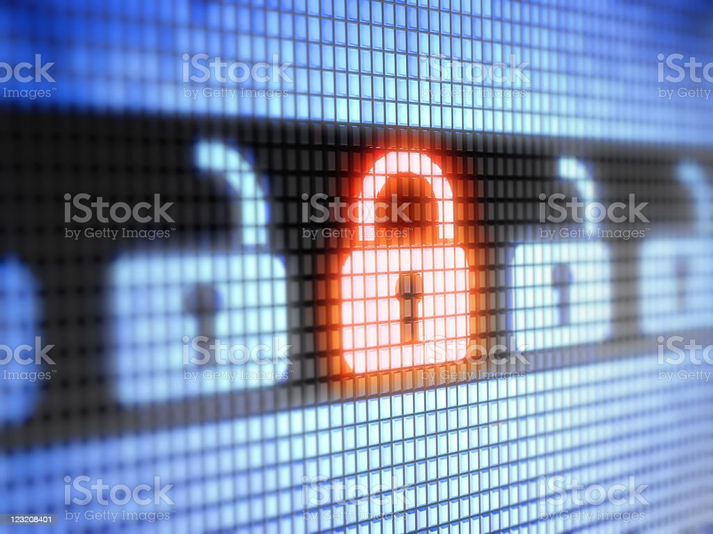 Digital image of closed and open Internet locks internet lock. Accessibility Stock Photo