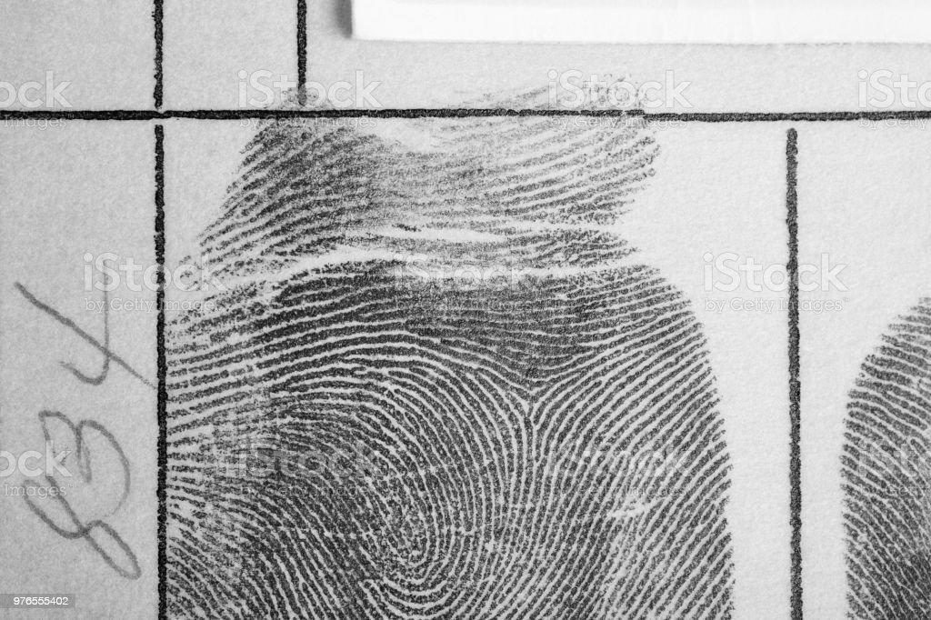 Digitale Tinte Fingerabdruck über ein strukturiertes Papier. Sicherheitskontrolle – Foto