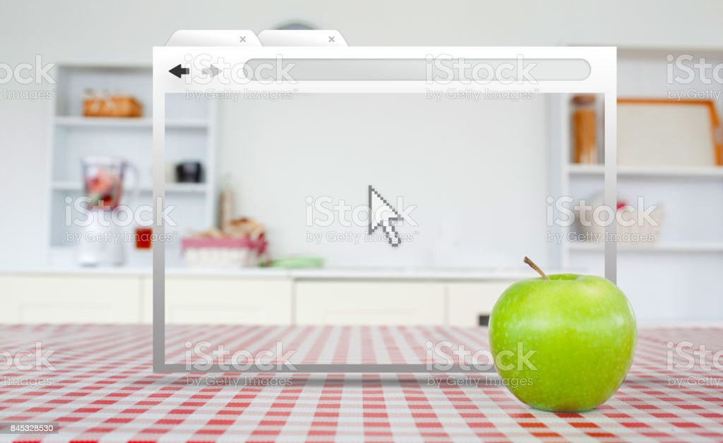 Digital internet window open on kitchen table stock photo