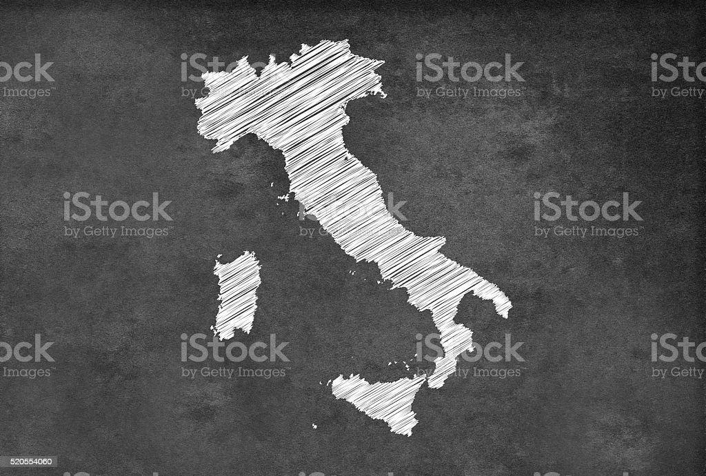 Digital Italian map on a blackboard stock photo