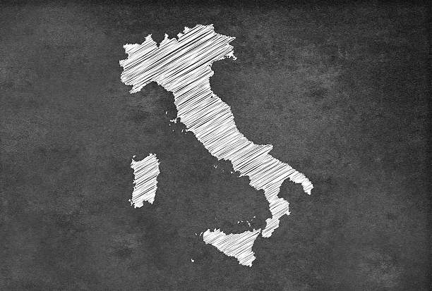 digital italian map on a blackboard - italy map stock photos and pictures