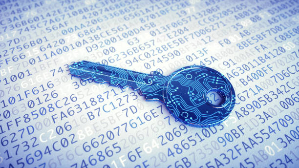 Digital key macro on encrypted data stock photo
