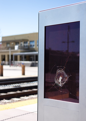 Digital Kiosk Vandalized with Bullet Hole. Shot in Santa Fe, NM.