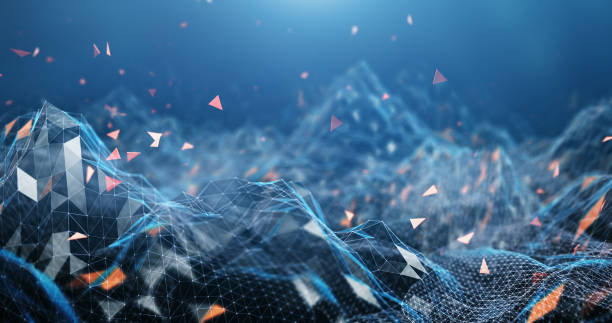 paisaje digital (azul) - inteligencia artificial fotografías e imágenes de stock