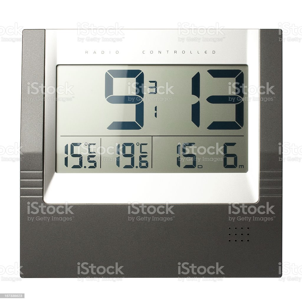 Digital LCD clock (clipping path), isolated on white background stock photo