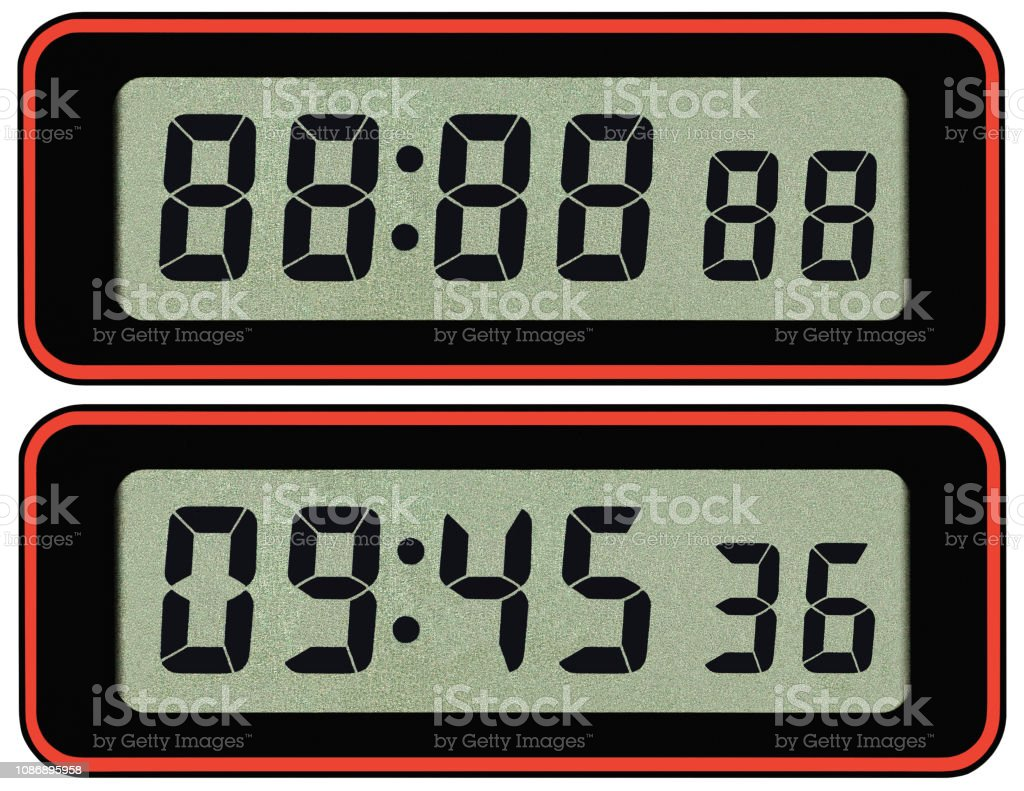 Digital Lcd Stopwatch Timer Typeface Template Isolated Seven