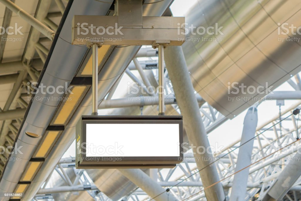 Digital LED clock ,Empty blank billboard advertising at airport ,train station,in public commercial,ready for new advertisement,copy space ,slective focus vintage color stock photo
