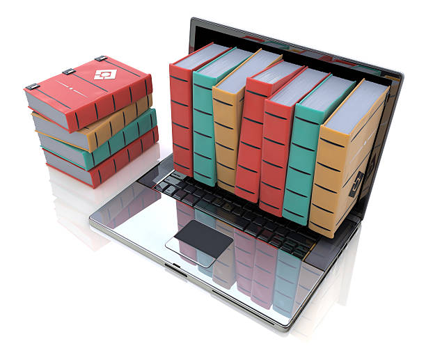 Digital library - Colored books inside computer stock photo