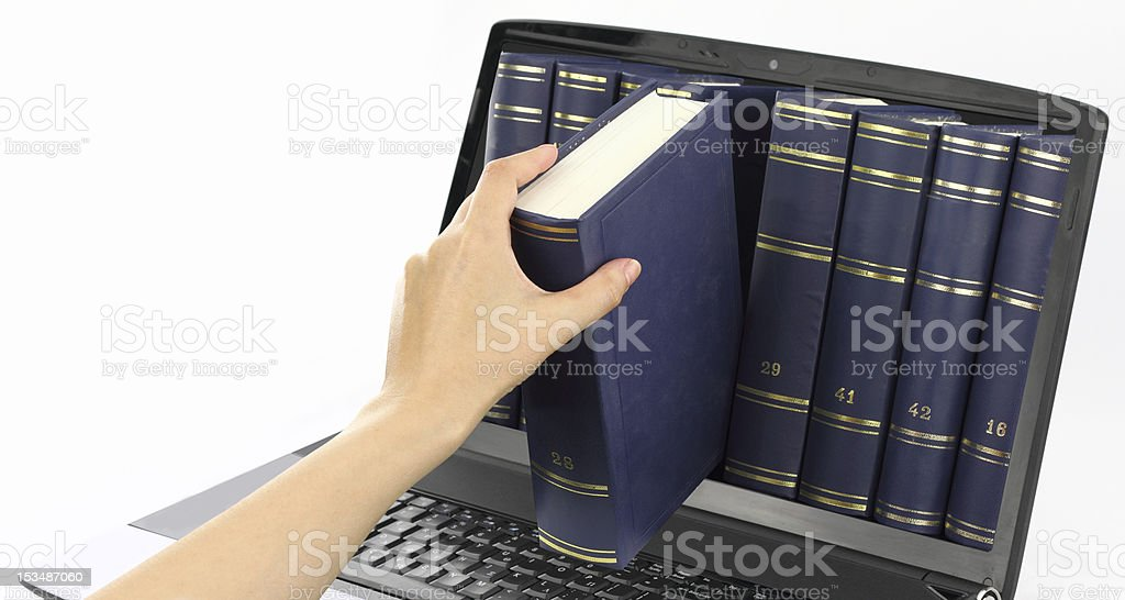 Digital library stock photo