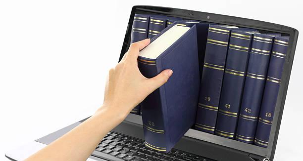 digitale bibliothek - online lexikon stock-fotos und bilder