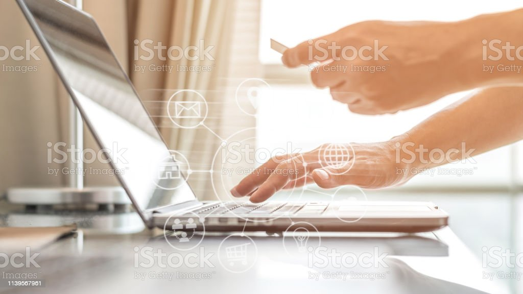 Digital lifestyle people using credit card paying purchase for omni-channel marketing from home stock photo