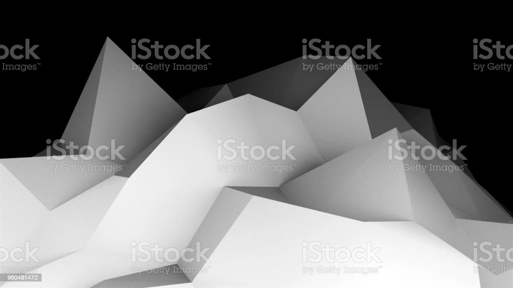 Digital lowpoly landscape. Abstract computer generating background. 3d rendering technology illustration for presentations stock photo