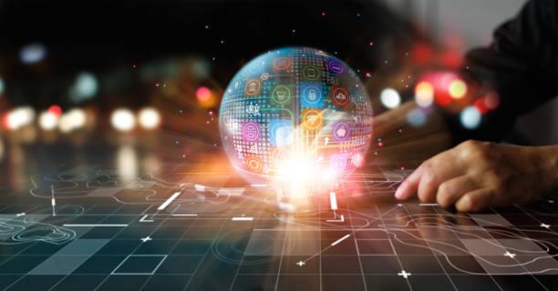 pemasaran digital, perbankan, pembayaran, dan belanja online, pebisnis menyentuh jaringan bisnis global dengan latar belakang warna-warni. - bisnis online potret stok, foto, & gambar bebas royalti