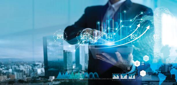 digital marketing. business strategy. businessman using tablet analyzing sales data and economic growth graph chart on hologram screen. business strategy and digital data. - cheap stock pictures, royalty-free photos & images
