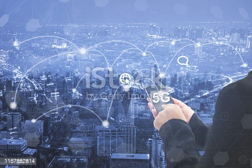 istock Digital marketing. Business using modern interface payments online shopping communication and icon customer network connection on virtual screen. Business innovation technology 5G concept. 1157882814